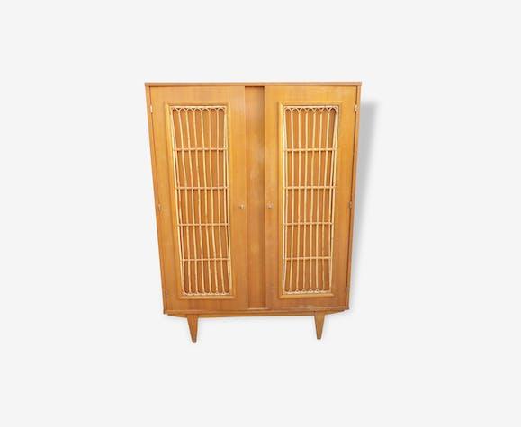 armoire penderie rotin vintage 1960 rotin et osier. Black Bedroom Furniture Sets. Home Design Ideas