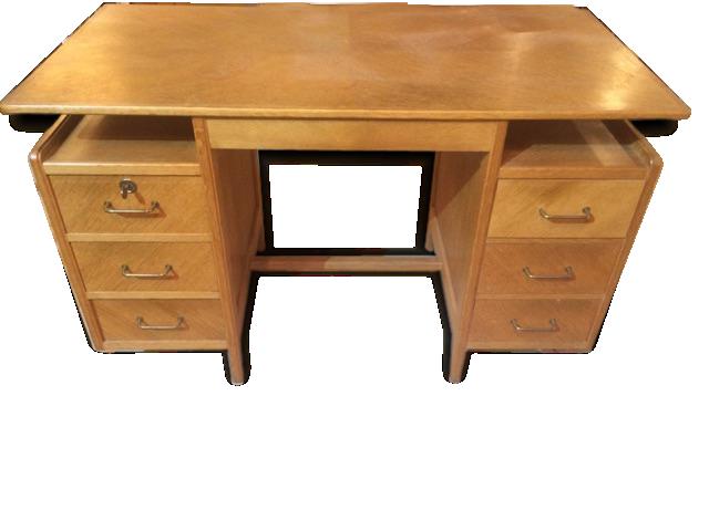 Joli petit bureau à tiroirs en bois blond wood wooden