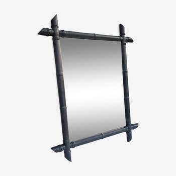 Miroir ancien en bambou 66x53cm