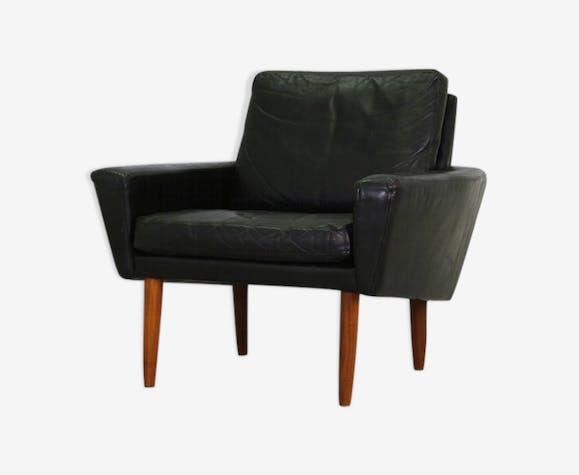 Leder Sessel Danish Design Teak Classic Peau Noir Scandinave