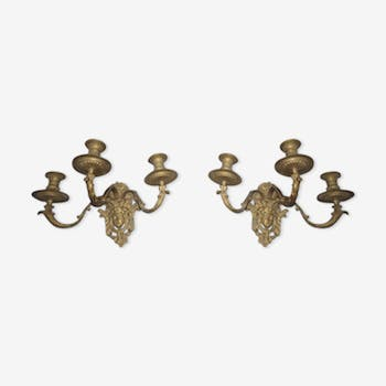 Pair of wall sconces in bronze