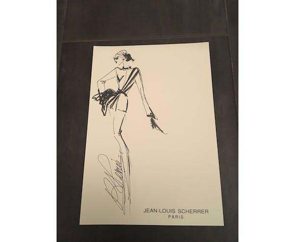 Jean-Louis Scherrer: illustration de mode & cliché de presse vintage 1992