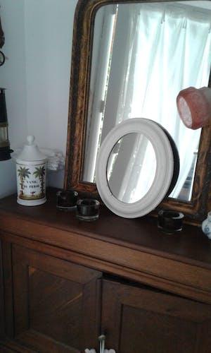 Miroir ovale ancien bois peint