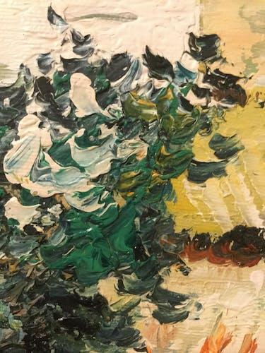 Peinture à l'huile sur toile du peintre allemand H. Knauf tournesols