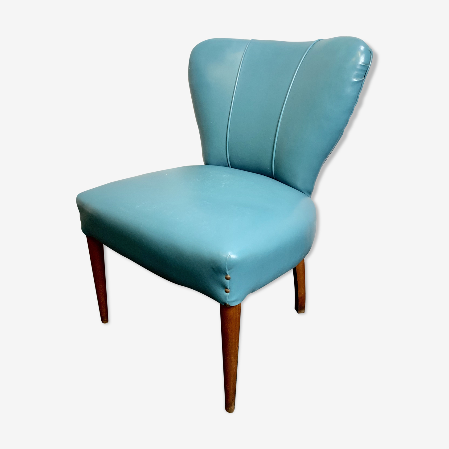 Chaise de cocktail italien vintage blue vinyl