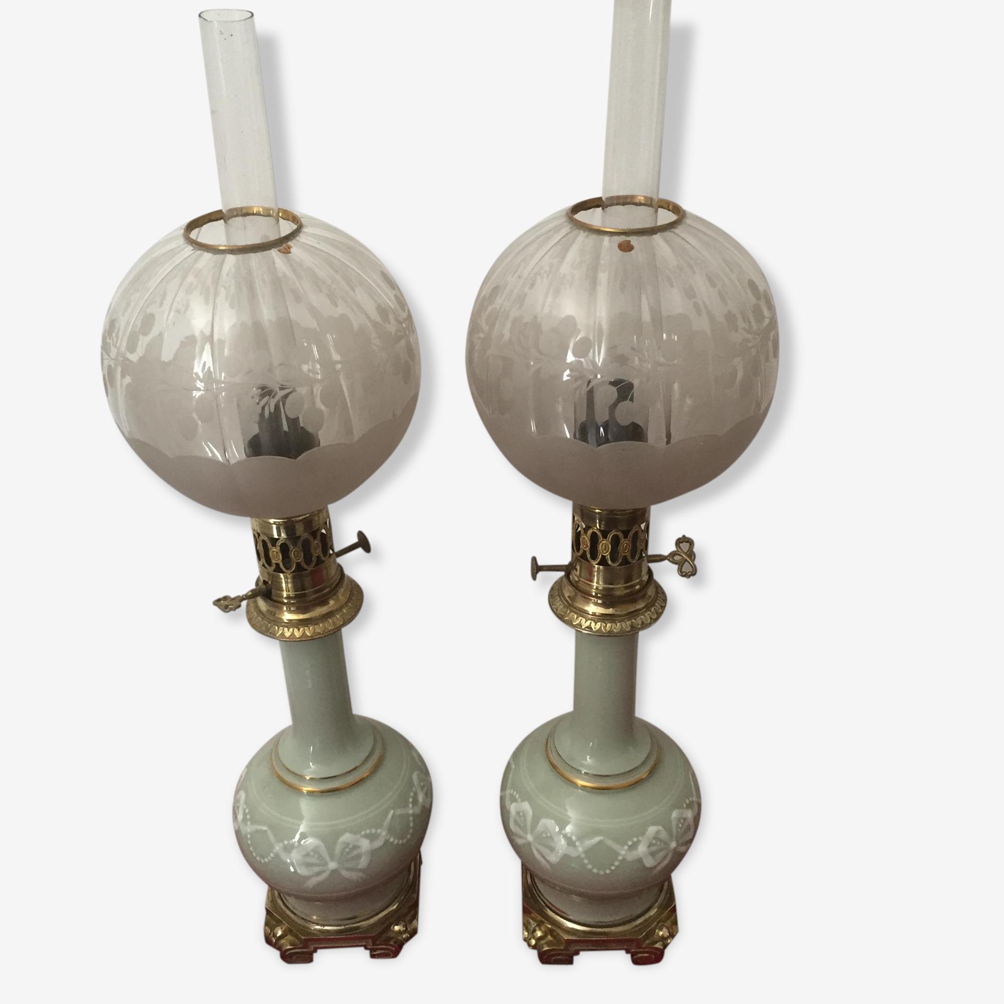 Lampe A Petrole Vert Celadon Xixeme Ceramique Porcelaine