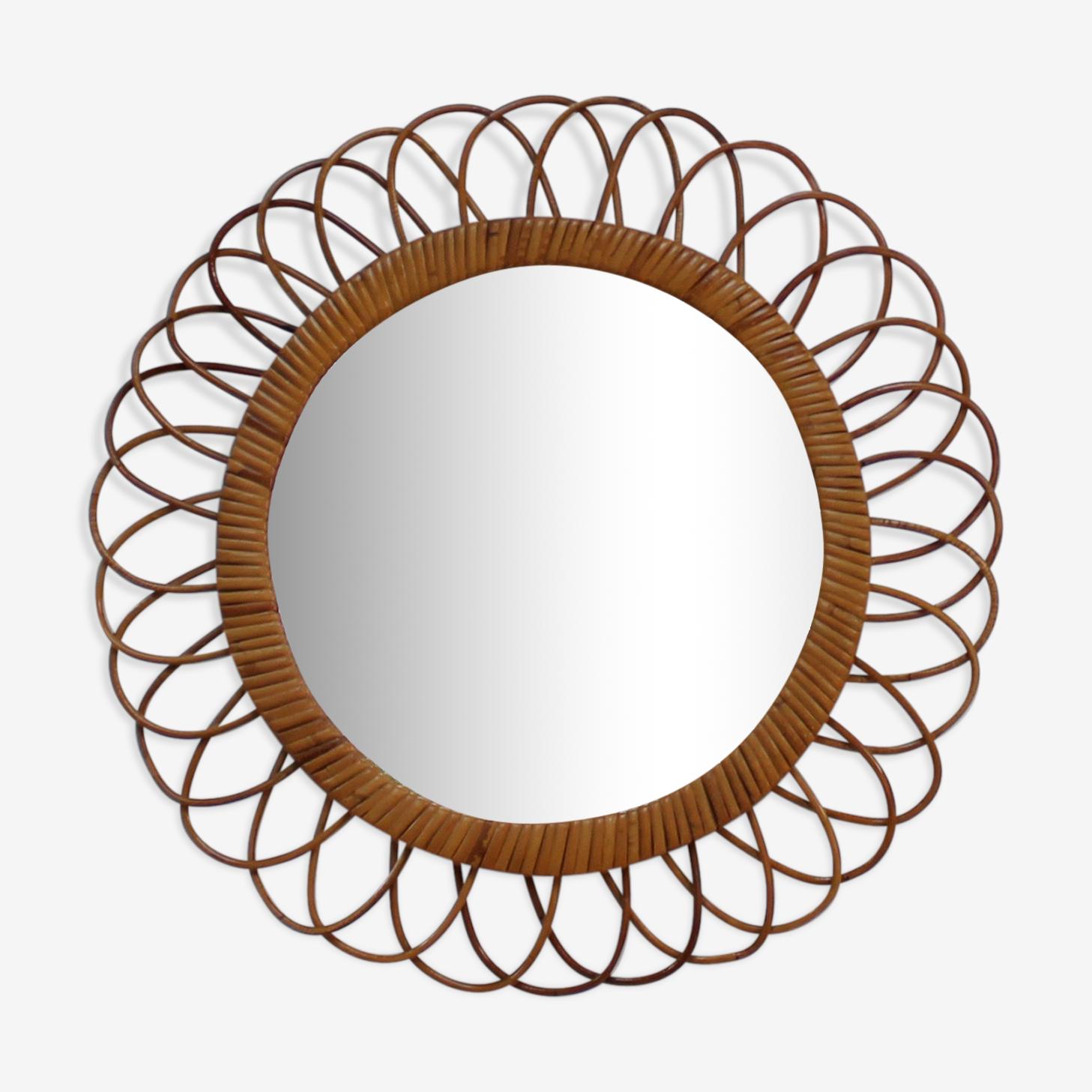 Miroir en rotin diamètre total 46cm