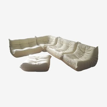 """Togo"" sofa set in leather by Michel Ducaroy for Ligne Roset"