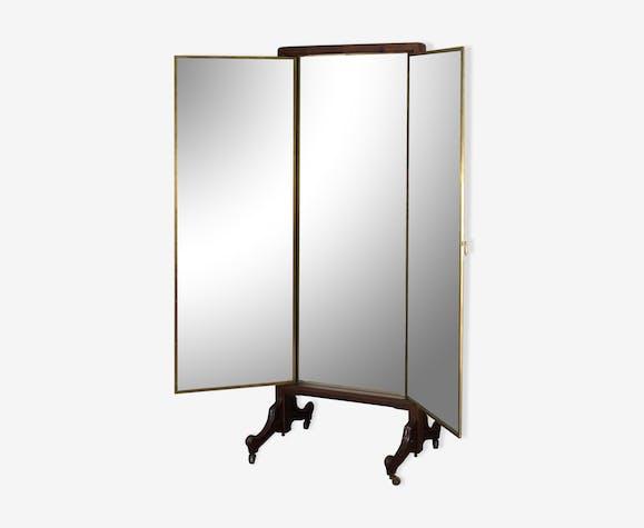 Miroir triptyque toute hauteur fin XIXème avec ses roulettes, de la ...