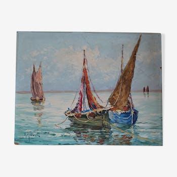 Fishermen's sailboats in the Côte d'Azur Robert GIOVANI oil on isorel