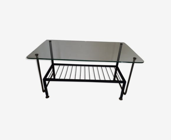 Table basse métal et verre 60