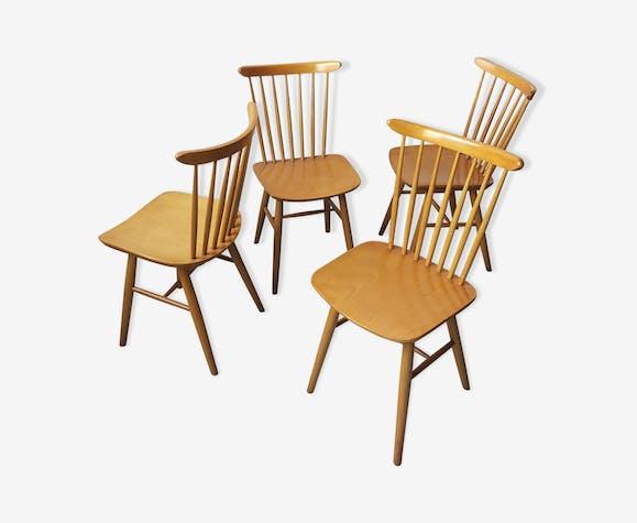 Lot de 4 chaises vintage design Antonin Suman
