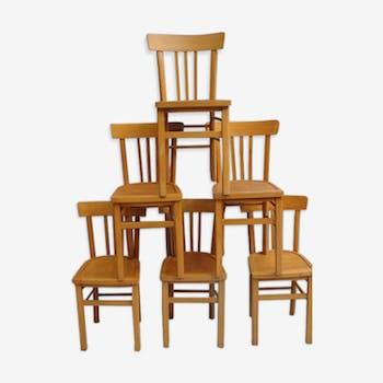 Lot de 6 chaises de bistrot des années 50