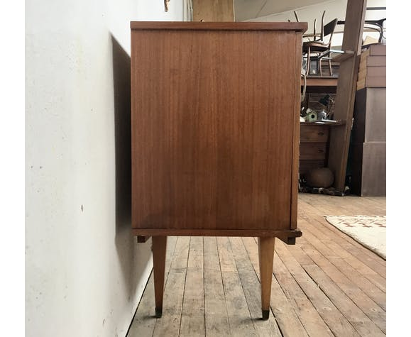 Enfilade meuble tv bahut moderniste vintage rétro en bois exotique vernis 1950-1960 sideboard