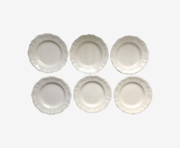 Set de 6 grandes assiettes plates Digoin Sarreguemines, couleur ivoire