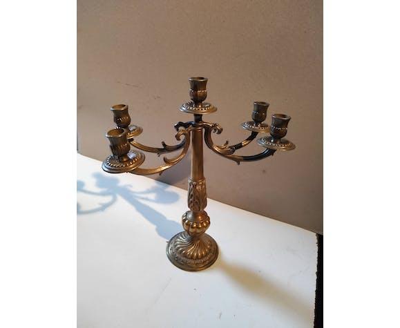 Paire d'anciens chandeliers en laiton