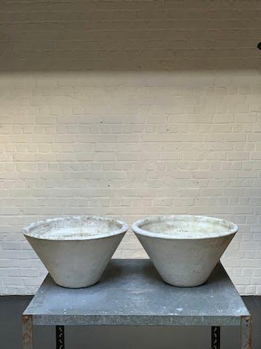 Paire de jardinières en Fibrociment modèle Saint Gall, design Paul Zülli
