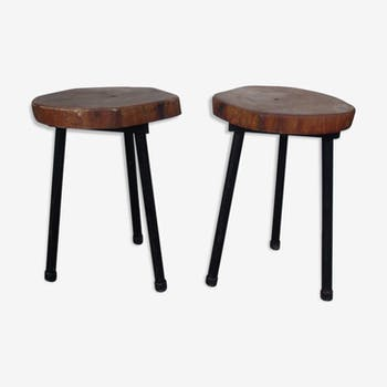 Pair of stools tripod in metal and wood log