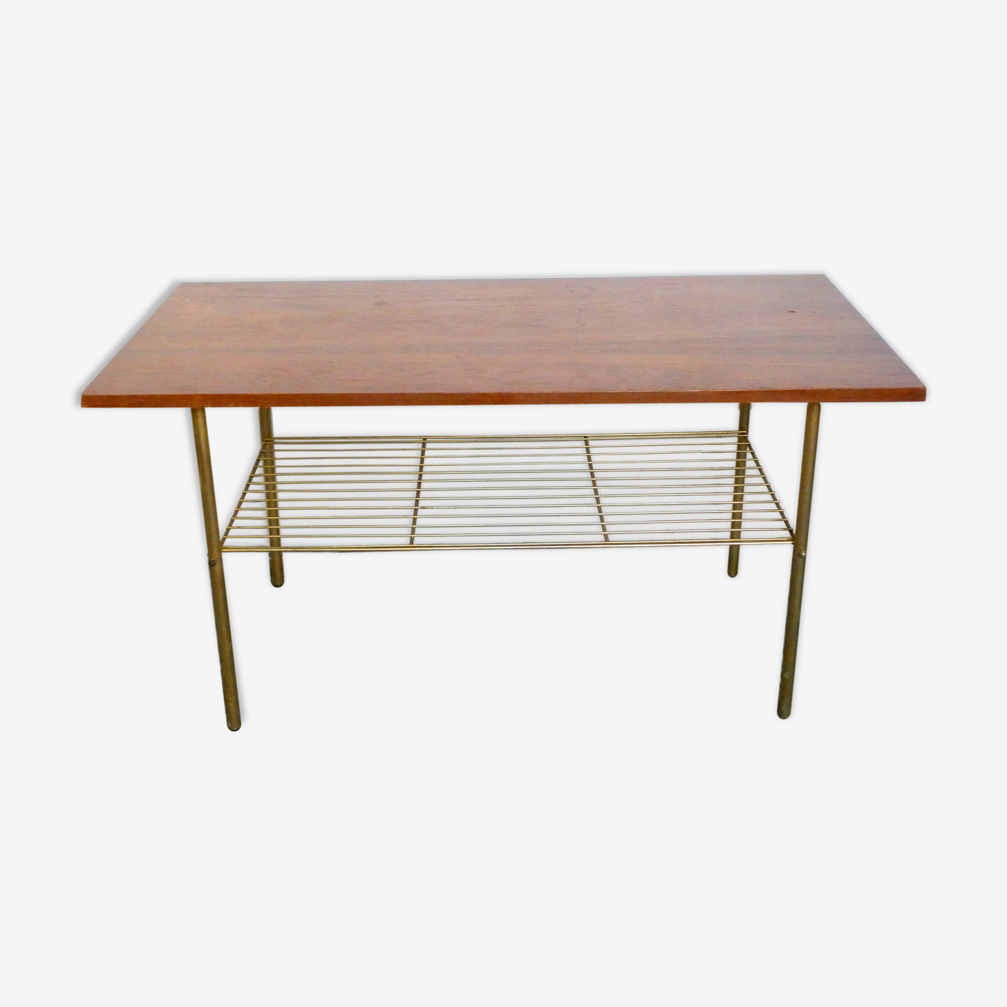 Table basse en bois et métal doré des années 60