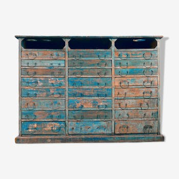 24-drawers patinated wooden workshop furniture