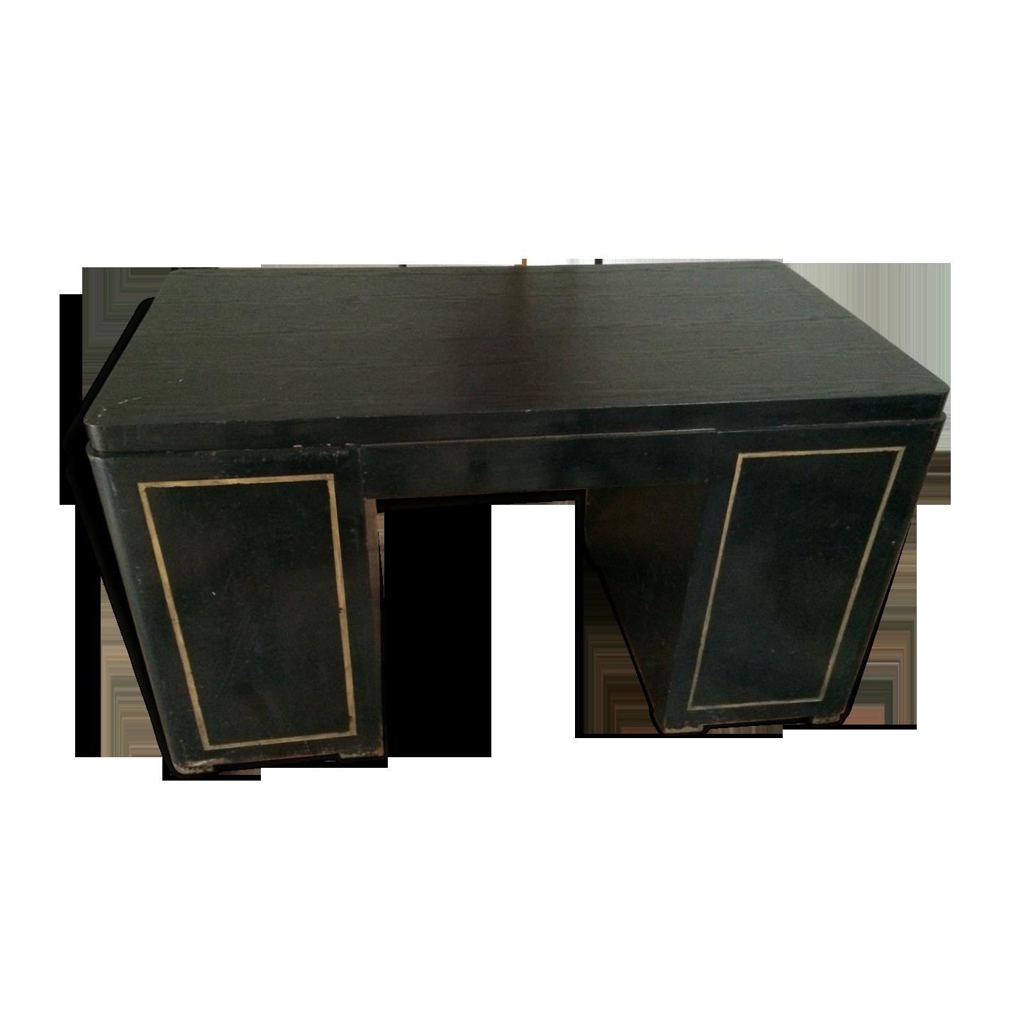 Bureau en bois noirci bois matériau noir vintage rno wxk