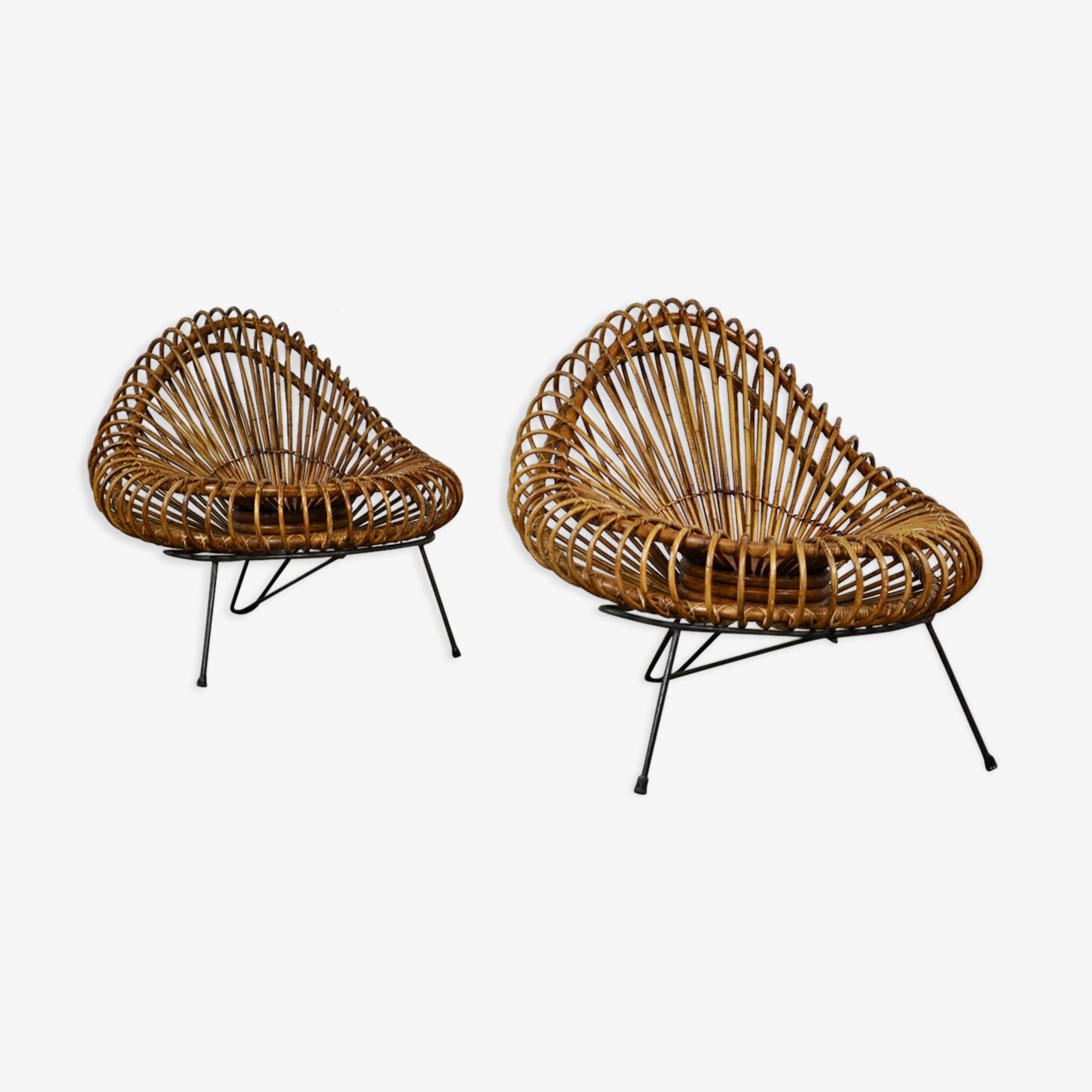 Paires de fauteuils par Jeanine Abraham et Dirk jan Rol, édité pour Rougier vers 1955
