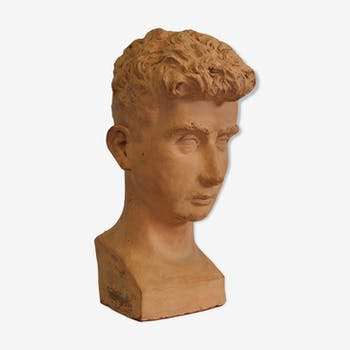 A man's terracotta bust, dated and signed