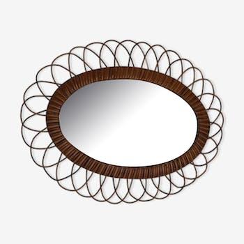 Miroir ovale en rotin des années 60 51x39cm