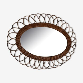 Oval mirror rattan of the 1960s 51x39cm