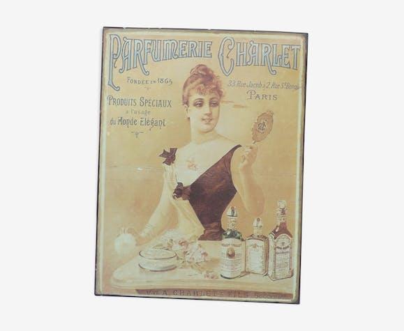Plaque tôle publicitaire ancienne Parfumerie Charlet - Paris