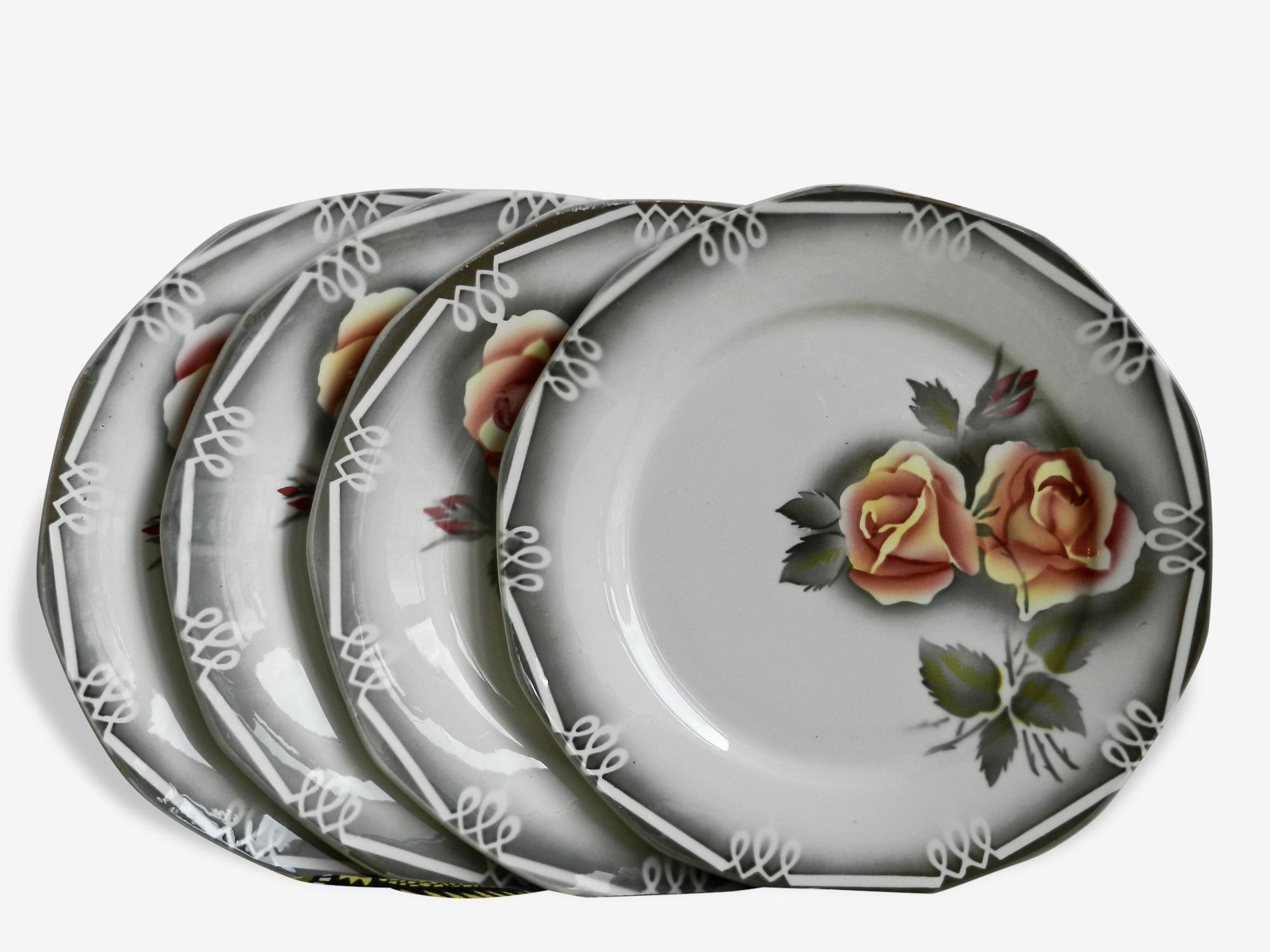 Digoin -sarreguemines ensemble de 4 assiettes plates modèle odile