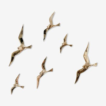 Soaring 6 golden brass swallows