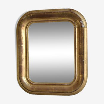 Miroir dore à la feuille d'or, 31 x 36cm