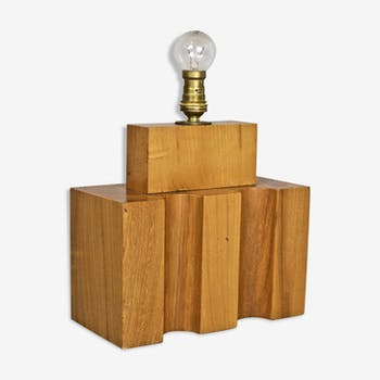 Constructivist wooden lamp edited by the House renewed circa 1970