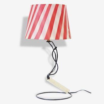 Belle lampe scoubidou & raphia de nylon 1950 vintage 50's rockabilly lamp
