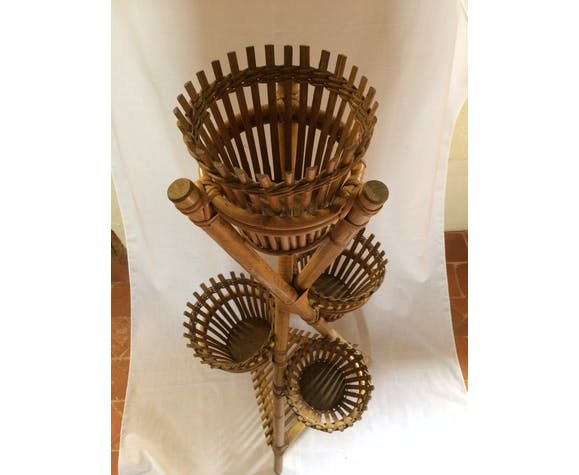 Bamboo  and vintage wicker plant holder