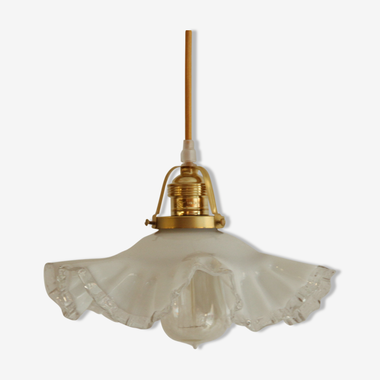 Pendant light old Lampshade in white opaline and transparent