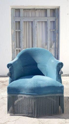Fauteuil crapaud bleu