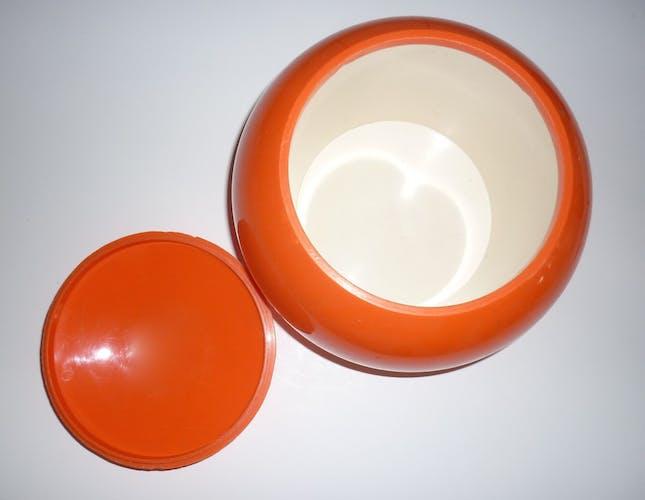 Seau à glaçons boule orange et or vintage