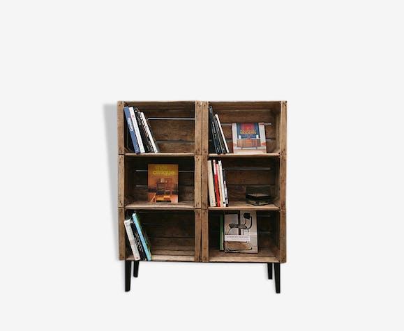 etag re caisse de pommes bois mat riau marron. Black Bedroom Furniture Sets. Home Design Ideas