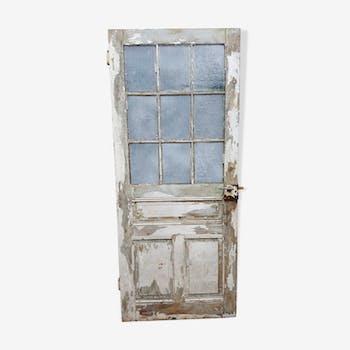 Old glass door beautiful patina. Height: 207.5 cm