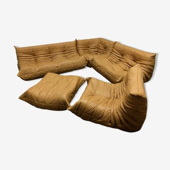 """Togo"" sofa set in mustard leather by Michel Ducaroy for Ligne Roset"