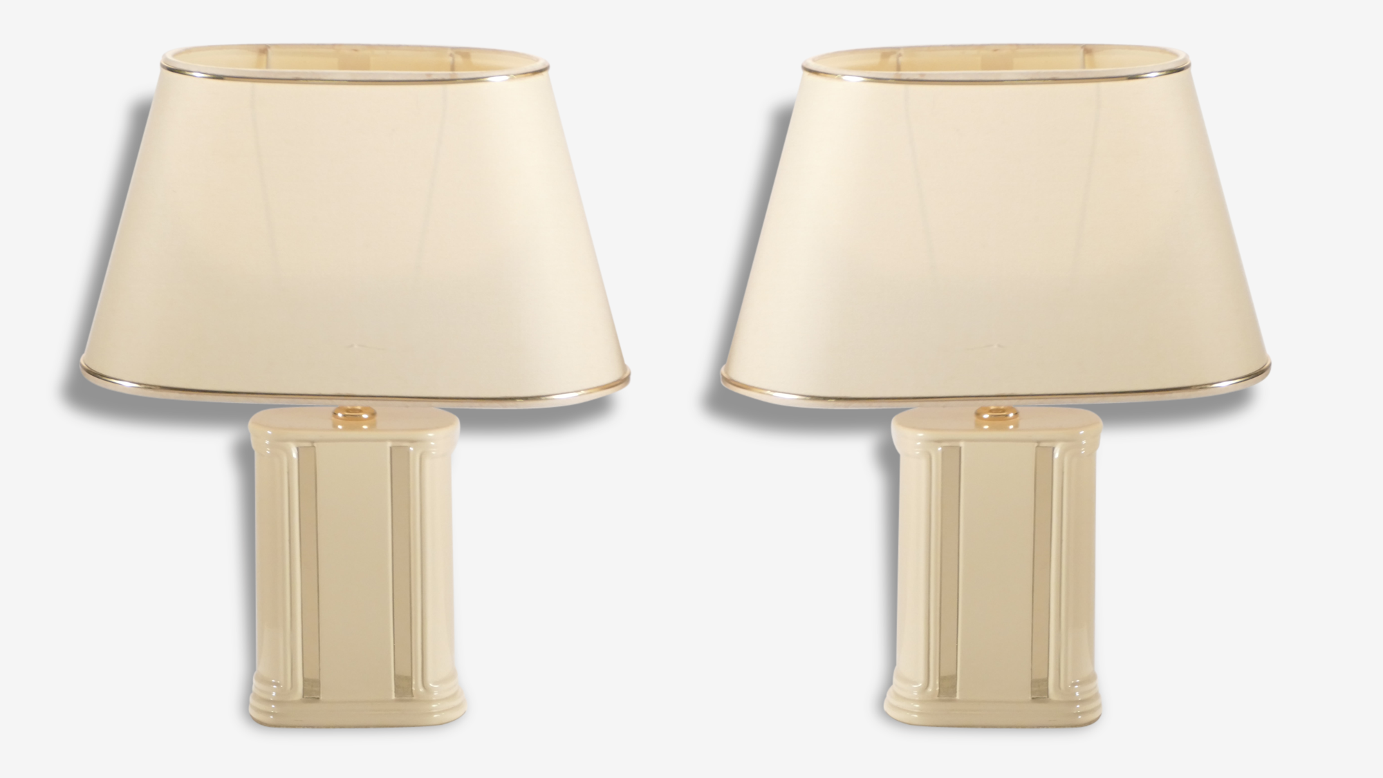 Pair of small lacquered bedside lamps JC Mahey 70s
