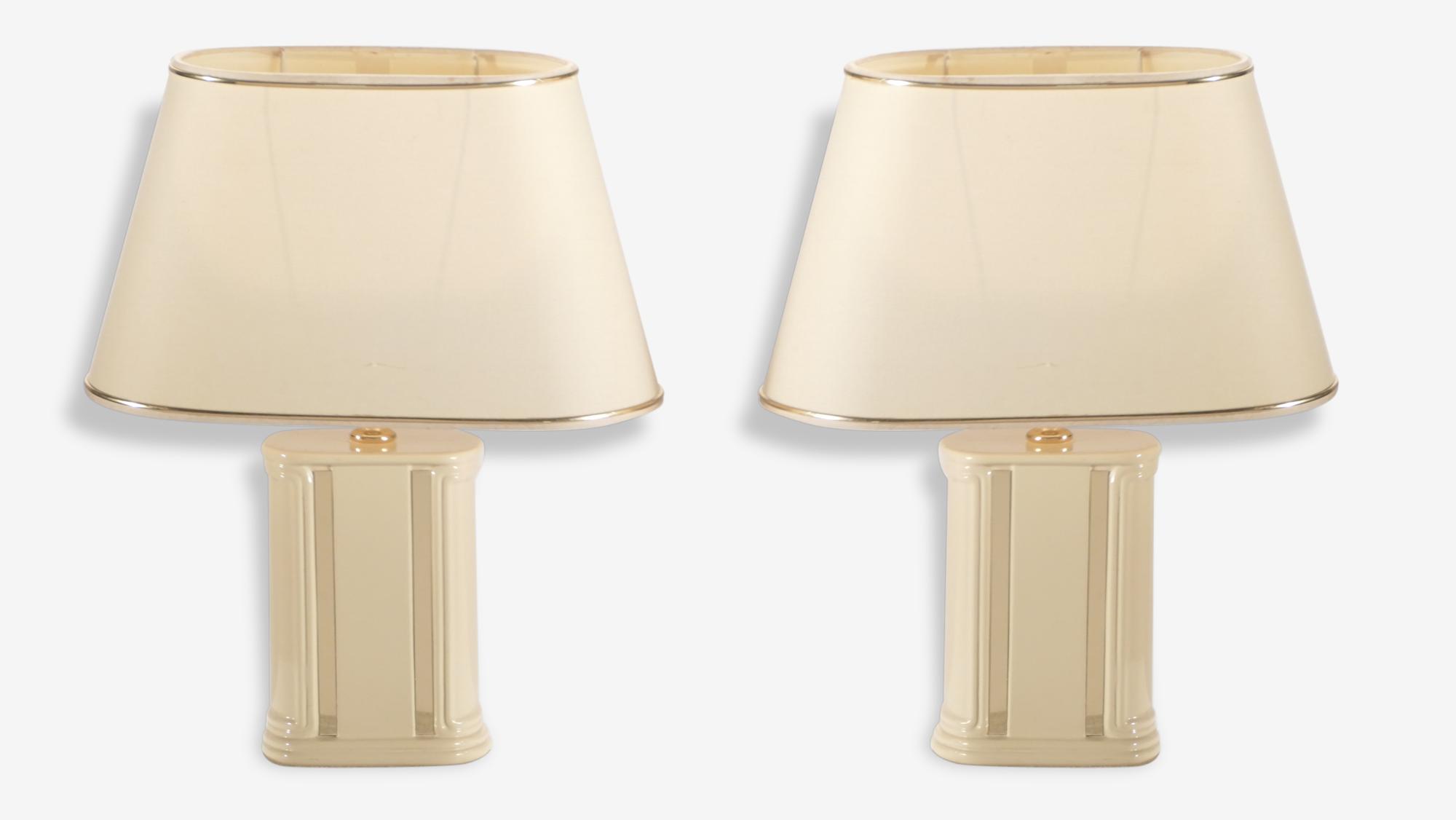 Paire de petites lampes de chevet laqué JC Mahey années 70