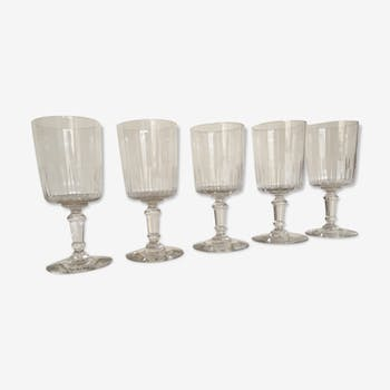 series of 5 early 20th crystal water glasses