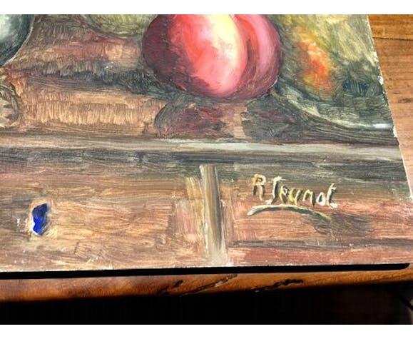 Nature morte sur panneau representant une cafetiere une peche une lampe signee r.jeunot