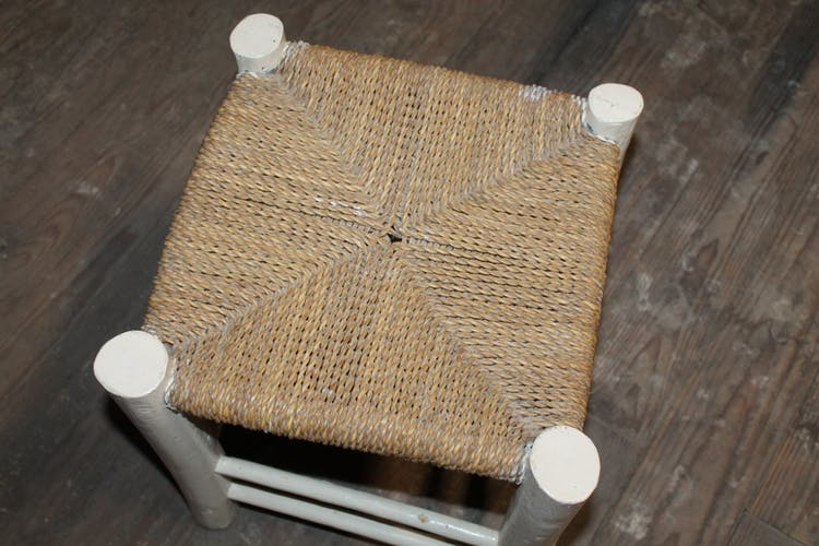 Stool White braided