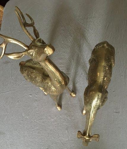 Couple de biche et de cerf en laiton H59