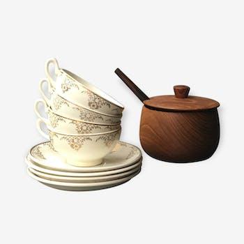 4 tasses à café porcelaine vintage