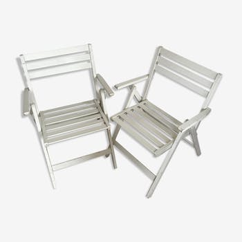 Lot of 2 folding armchairs